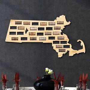 23.5 in. x 12.5 in. Massachusetts Wine Cork Map