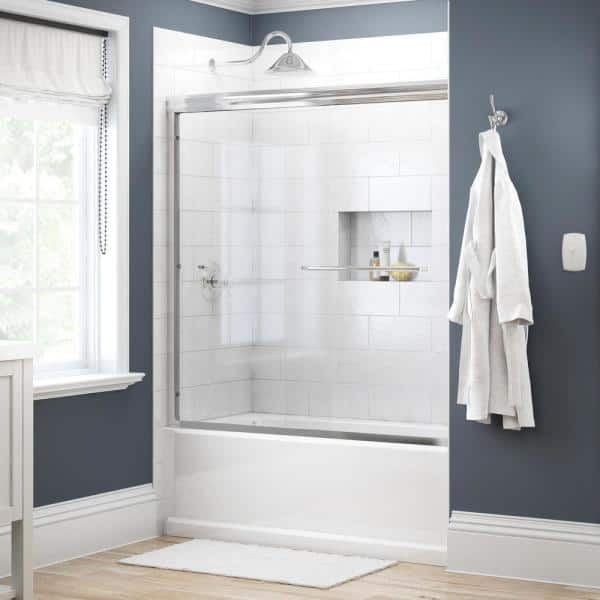 Delta Simplicity 60 In X 58 1 8 In Semi Frameless Traditional Sliding Bathtub Door In Chrome With Clear Glass 2435515 The Home Depot