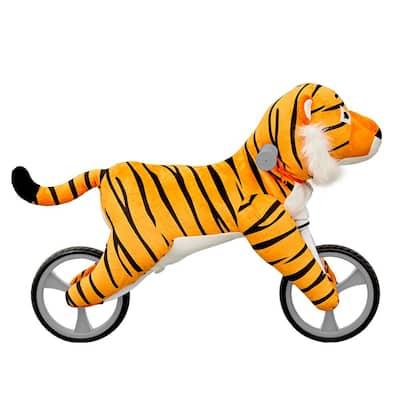 Kid's Animal Plush Toddler Training Balance Bicycle Ride On Toy, Tiger