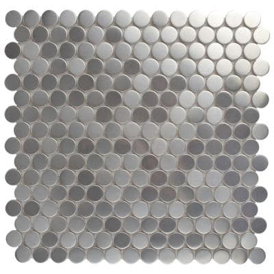 Meta Penny Round 11-3/4 in. x 11-3/4 in. x 8 mm Stainless Steel Metal Over Ceramic Mosaic Tile (0.96 sq. ft./Each)