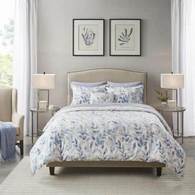 Thelma 8-Piece Blue Cal King Reversible Complete Bedding Set