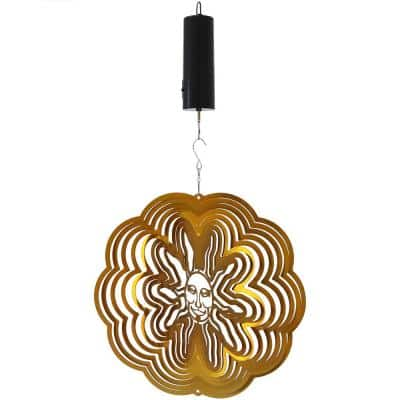 Gold Sun 12 in. Whirligig Wind Spinner with Battery-Operated Motor