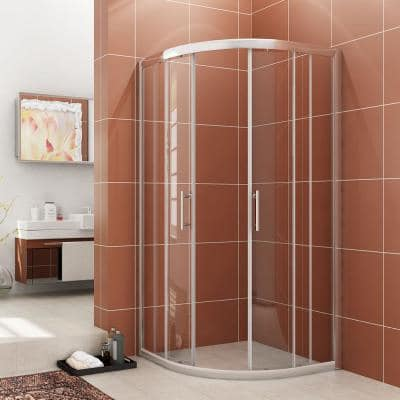 36 in. W x 72 in. H Frameless Corner Round Cubicle Sliding Shower Doors with 1/4 in. Clear Glass, Chrome