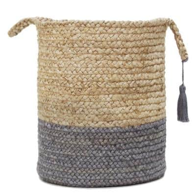 Tan / Frost Gray Two-Tone Natural Jute Woven Decorative Storage Basket with Handles