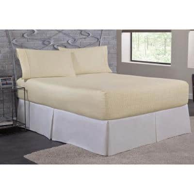 Bed Tite Microfiber 4-Piece Ivory Solid 200 Thread Count Microfiber Queen Sheet Set