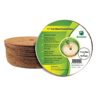 11 in. in. x 0.2 in. Natural Coir Tree Ring Coconut Fiber Protector Mat (15-Pack)