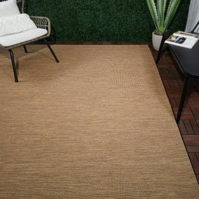 Tan Solid 8 ft. x 10 ft. Indoor/Outdoor Area Rug