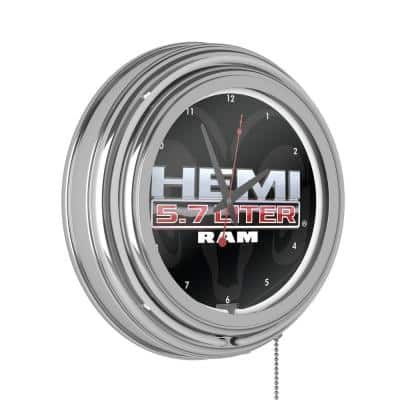 Neon Wall Clock Hemi Double Rung Analog Clock with Pull Chain-Pub, Garage, or Man Cave Accessories (White)