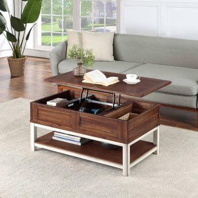 37 .5 in. Rustic Brown Medium Rectangle Wood Coffee Table with Lift Top