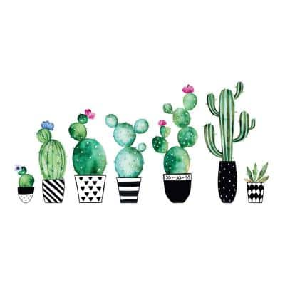 Green Watercolor Cactus Wall Decals (Set of 8)