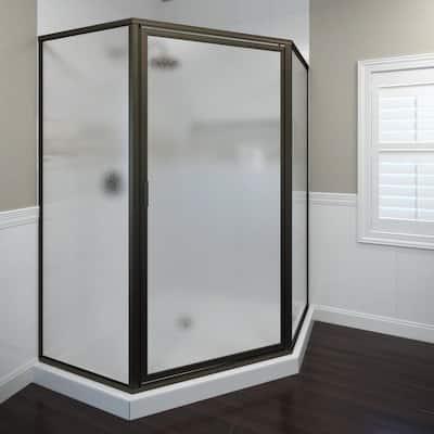Deluxe 22-5/8 in. x 68-5/8 in. Framed Neo-Angle Hinged Shower Door in Oil Rubbed Bronze