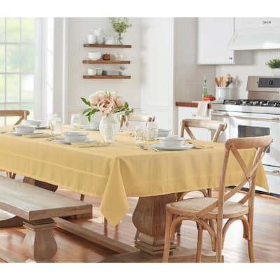 60 in. W x 120 in. L Ribbon Gold Elegance Plaid Damask Fabric Tablecloth