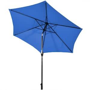 10 ft. Iron Market Tilt Patio Umbrella in Blue