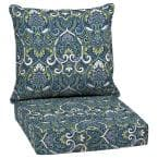 24 in. x 24 in. Sapphire Aurora Damask 2-Piece Deep Seating Outdoor Lounge Chair Cushion