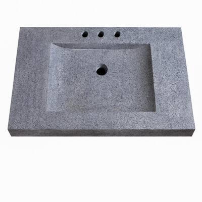 33 in. W x 22 in. D x 3 in. H Stone Integrated Vanity Top in Dark Gray
