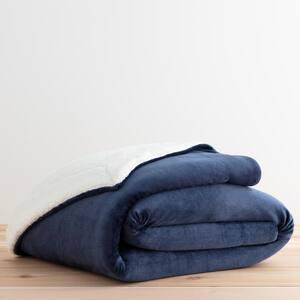 Reversible in Navy Fleece and Sherpa Blanket- Queen