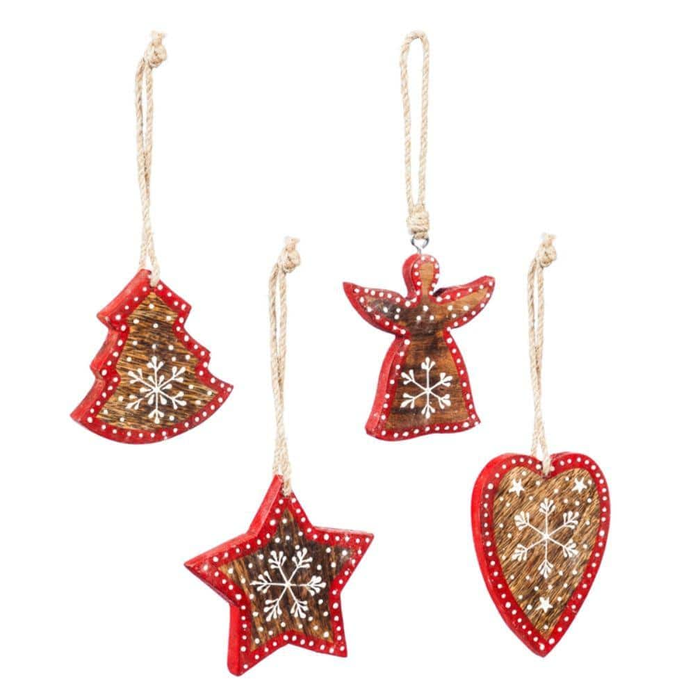 Evergreen 4 1 2 In Hand Painted Wood Christmas Ornaments Star Heart Tree Angel 4 Pack 3otw119ecm The Home Depot