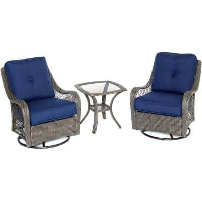 Orleans Grey 3-Piece All-Weather Wicker Patio Swivel Rocking Chat Set with Navy Blue Cushions