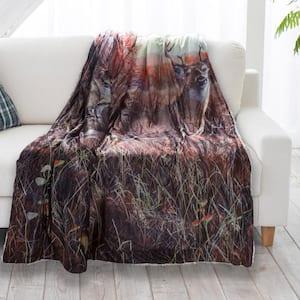 Deer Print Sherpa Fleece Blanket