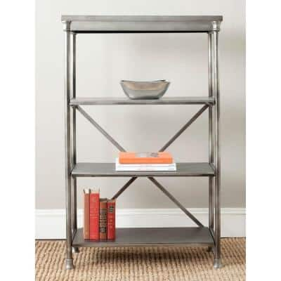 50.25 in. Dark Silver Metal 3-shelf Etagere Bookcase