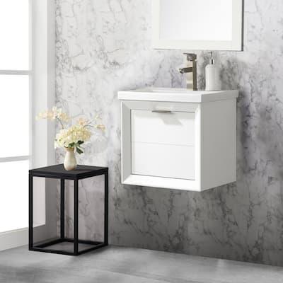 Danbury 20 in. W x 15.7 in. D Bath Vanity in White with Porcelain Vanity Top in White with White Basin
