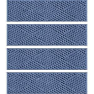 Diamonds 8.5 in. x 30 in. Stair Treads (Set of 4) Navy