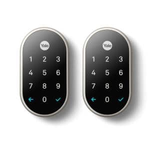 Nest x Yale Lock - Tamper-Proof Smart Deadbolt Lock with Nest Connect 2-Pack - Satin Nickel