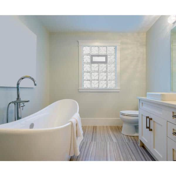 Clearly Secure 21 25 In X 15 5 In X 3 125 In Frameless Wave Pattern Vented Glass Block Window 2216vdc The Home Depot