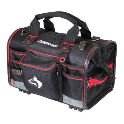 18 in. Large Mouth Tool Bag with Tool Wall