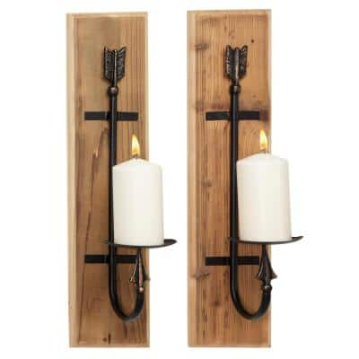 Brown Wood Industrial Candle Wall Sconce (Set of 2)