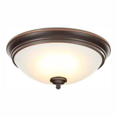 11 in. 60-Watt Equivalent Oil-Rubbed Bronze Integrated LED Flush Mount with Frosted White Glass Shade
