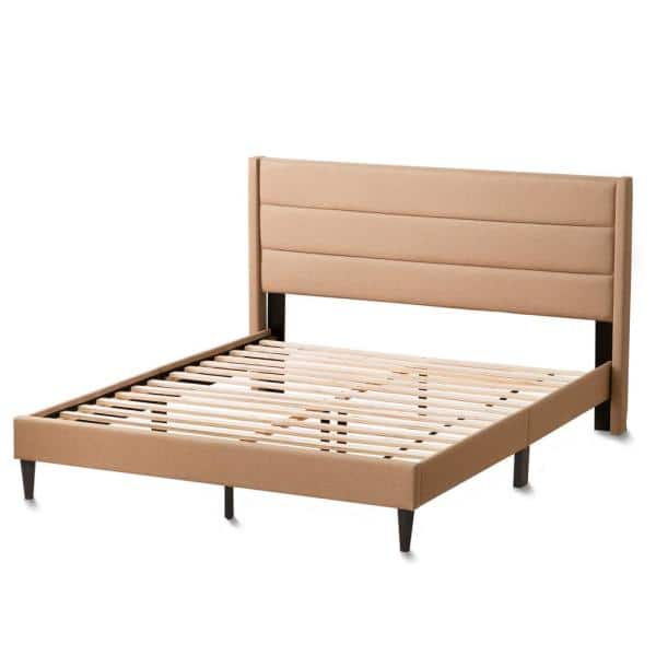 Brookside Sara Beige King Upholstered Bed with Horizontal Channels   The Home Depot