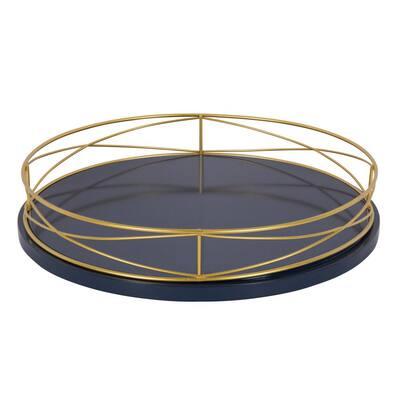 Mendel Blue/Gold Decorative Tray