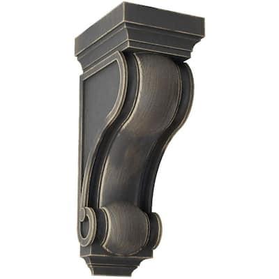 6 in. x 16 in. x 7-1/2 in. Black Devon Traditional Wood Vintage Decor Corbel