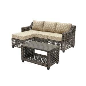 Briar Ridge 3-Piece Brown Wicker Outdoor Patio Sectional Sofa with CushionGuard Toffee Trellis Tan Cushions