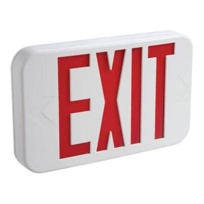 25-Watt White Integrated LED Exit Sign with Red Letters