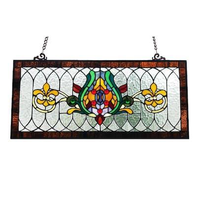 Fleur De Lis Stained Glass Pub Window Panel