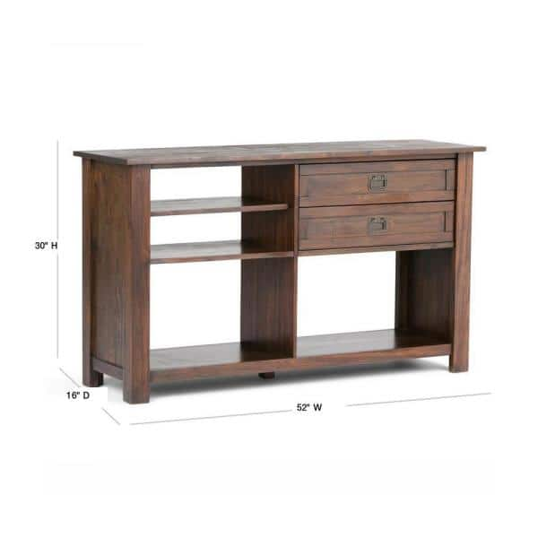 Simpli Home Monroe 52 In Distressed Charcoal Brown Standard Rectangle Wood Console Table With Drawers Axcmon 04 The Depot