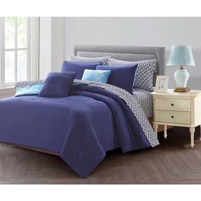 9-Piece Blue King Comforter Set