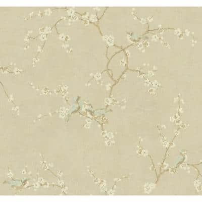 Birds with Blossoms Paper Strippable Roll Wallpaper (Covers 60.75 sq. ft.)