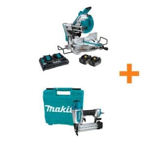18V X2 LXT (36V) Brushless 10 in. Dual-Bevel Sliding Compound Miter Saw Kit(5.0Ah) w/ Bonus Pneumatic, 2 in. Brad Nailer
