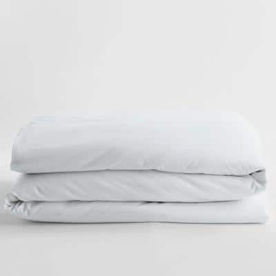 Company Cotton White Solid 300-Thread Count Wrinkle-Free Sateen Full Duvet Cover