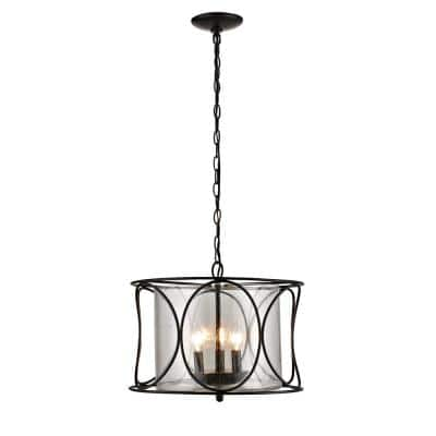 3-Light Bronze Contemporary Cage Pendant with Seeded Glass Shade