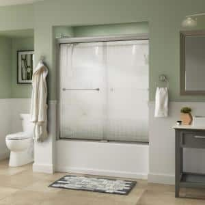 Everly 60 in. x 58-1/8 in. Traditional Semi-Frameless Sliding Bathtub Door in Nickel and 1/4 in. (6mm) Droplet Glass