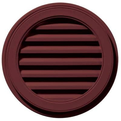 22 in. x 22 in. Round Red Plastic Built-in Screen Gable Louver Vent