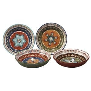 Monterrey 9.25 in. Multi-Colored Soup/Pasta Bowl (Set of 4)
