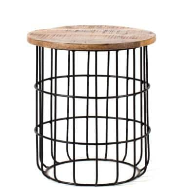 Auxon Black and Natural Wood Color Mango Wood Cage End Table