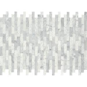 Link White 12.01 in. x 17.99 in. Honeycomb Splitface Marble Mosaic Tile (1.5 sq. ft./Each)