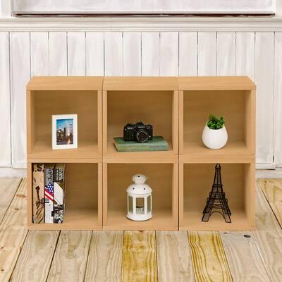 25.6 in. H x 40.2 in. W x 11.2 in. D Oak Recycled Materials 6-Cube Organizer