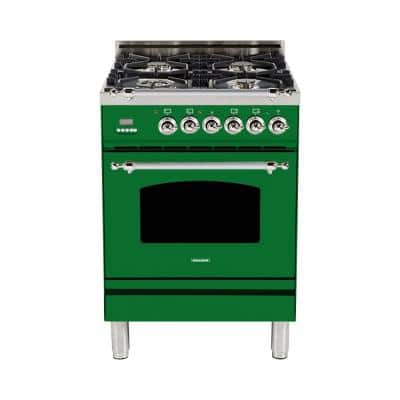 24 in. 2.4 cu. ft. Single Oven Italian Gas Range with True Convection, 4 Burners, Chrome Trim in Emerald Green